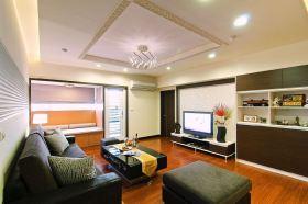 橙色简约风格客厅装修效果图