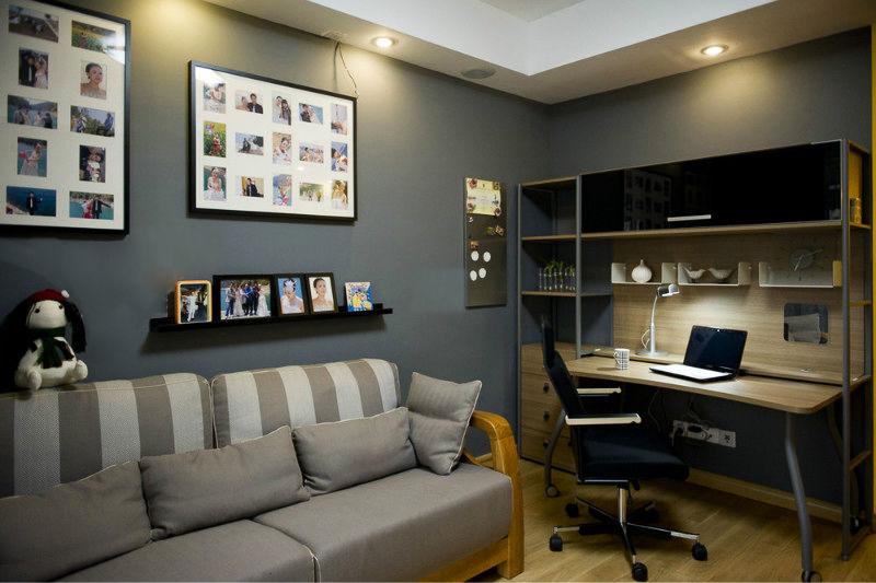 灰色现代书房装修设计图