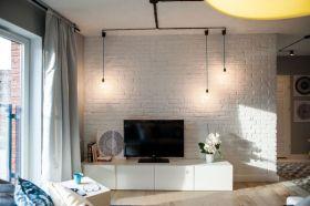 白色北欧风格客厅电视背景墙装修图