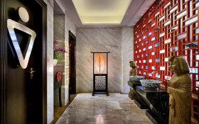 红色禅意雅致中式卫生间过道图片