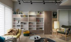 米色文艺清新简约风格客厅收纳柜设计赏析