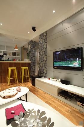宜家风格灰色质感客厅背景墙设计欣赏