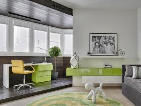 绿色简约清爽自然书房装修效果图