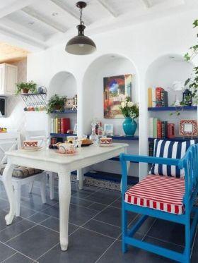 地中海风格清新白色餐厅装修欣赏