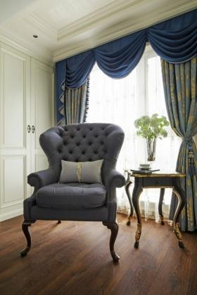 欧式风格浪漫蓝色窗帘装饰案例