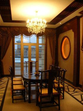 褐色中式餐厅装潢设计