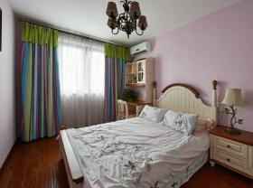 美式风格粉色窗帘装饰图