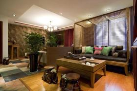 黄色雅致东南亚风格客厅装饰设计图片