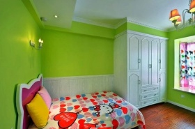 现代风格清新绿色儿童房效果图设计