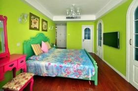 绿色混搭风格卧室装修美图