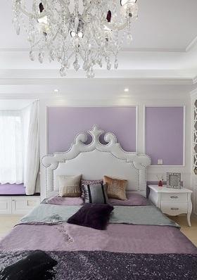 2016紫色简欧风格卧室装饰案例