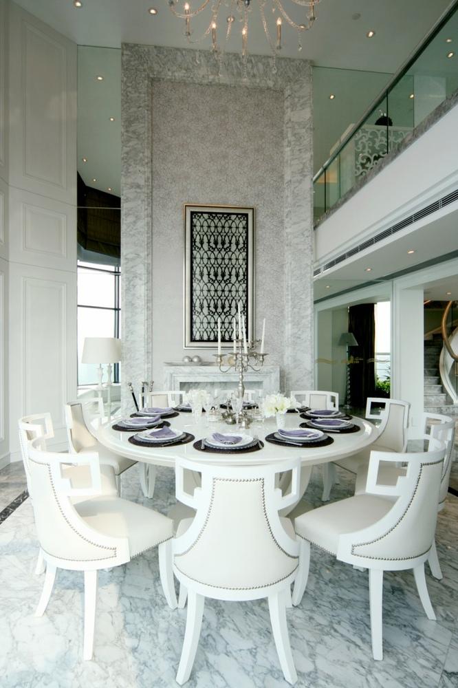 白色欧式风格餐厅装饰案例