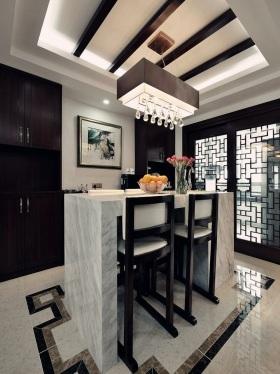中式风格典雅黑色吧台装潢设计