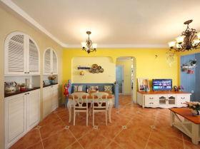 温馨黄色地中海风格餐厅装饰赏析