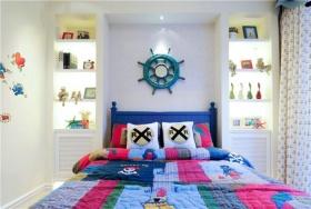 蓝色地中海卧室背景墙设计欣赏