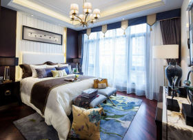 2016美式蓝色卧室窗帘装饰案例