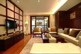 东南亚橙色客厅背景墙装修布置