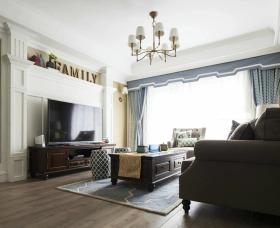 美式风格灰色客厅背景墙装饰设计图片