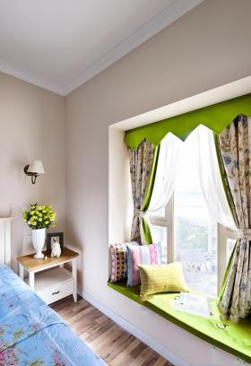 绿色清爽田园风格飘窗设计图片