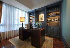 美式风格书房窗帘装修效果图片