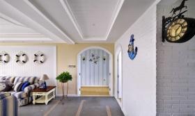 白色清新地中海风格过道设计装潢