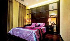 褐色中式风格卧室隔断装修