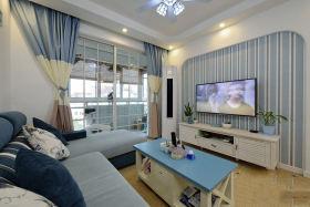 浪漫蓝色地中海风格客厅装修效果图