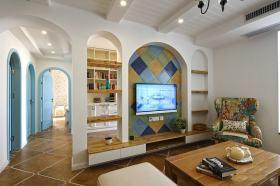 地中海风格清新白色背景墙装修案例