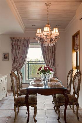 浪漫碎花欧式田园风格餐厅窗帘装饰案例