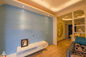 蓝色田园风格背景墙效果图赏析