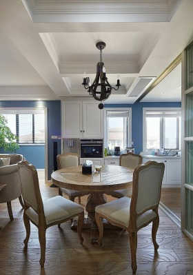 地中海风格浪漫蓝色餐厅效果图设计