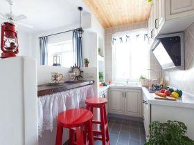 清新地中海风格厨房吧台装修效果图片