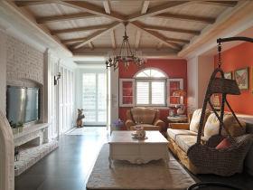 古典粉色美式田园客厅吊顶装潢设计