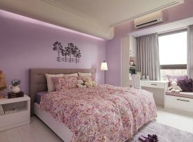 田园风格舒适卧室飘窗设计欣赏