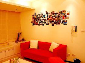 红色宜家风格客厅背景墙图片欣赏