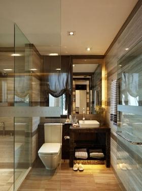褐色美式卫生间装修设计
