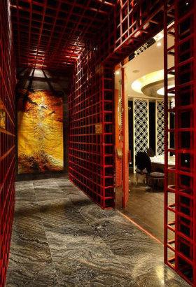 红色典雅中式风过道装修设计