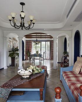 白色清新地中海风格客厅装修案例
