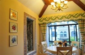 黄色田园风格餐厅窗帘装修案例