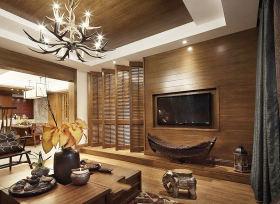 精美东南亚风格客厅背景墙图片