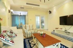 地中海风格黄色客厅背景墙图片