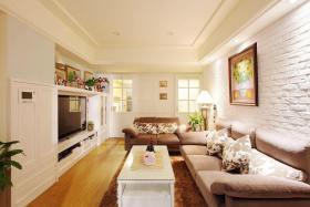 浪漫田园风格米色客厅背景墙装修设计