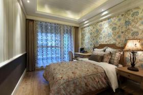田园风格卧室窗帘装修图片