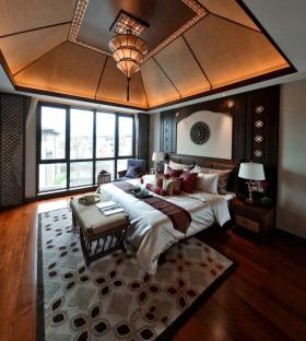 雅致东南亚风格卧室吊顶装修设计