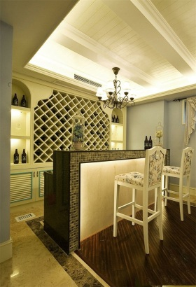 优雅轻盈欧式米色吧台装修效果图片