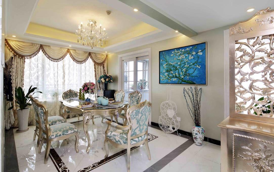 白色质感欧式风格餐厅装饰案例