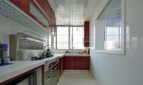 红色个性现代风格厨房橱柜装修效果图片