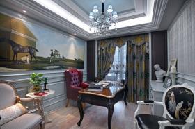 欧式田园风格书房窗帘设计图片