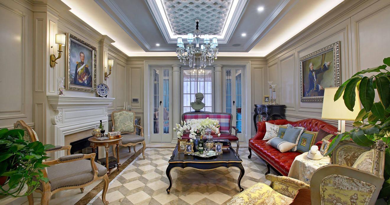 欧式风格轻奢米色客厅装饰设计图片图片