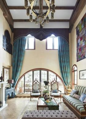 古典欧式拜占庭风格客厅窗帘装修效果图